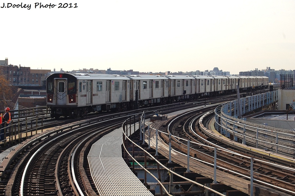 (357k, 1024x681)<br><b>Country:</b> United States<br><b>City:</b> New York<br><b>System:</b> New York City Transit<br><b>Line:</b> IRT White Plains Road Line<br><b>Location:</b> East 180th Street <br><b>Route:</b> 2<br><b>Car:</b> R-142 (Primary Order, Bombardier, 1999-2002)  6851 <br><b>Photo by:</b> John Dooley<br><b>Date:</b> 11/14/2011<br><b>Viewed (this week/total):</b> 2 / 698