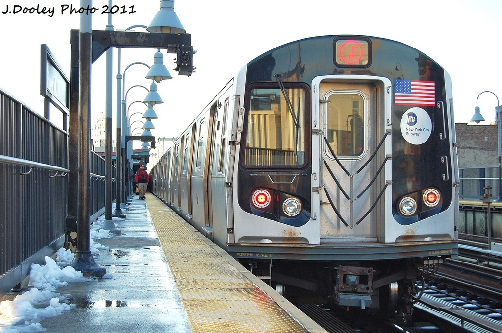 (348k, 1024x680)<br><b>Country:</b> United States<br><b>City:</b> New York<br><b>System:</b> New York City Transit<br><b>Line:</b> BMT Nassau Street/Jamaica Line<br><b>Location:</b> Marcy Avenue <br><b>Route:</b> J<br><b>Car:</b> R-160A-1 (Alstom, 2005-2008, 4 car sets)  8376 <br><b>Photo by:</b> John Dooley<br><b>Date:</b> 10/30/2011<br><b>Viewed (this week/total):</b> 3 / 278