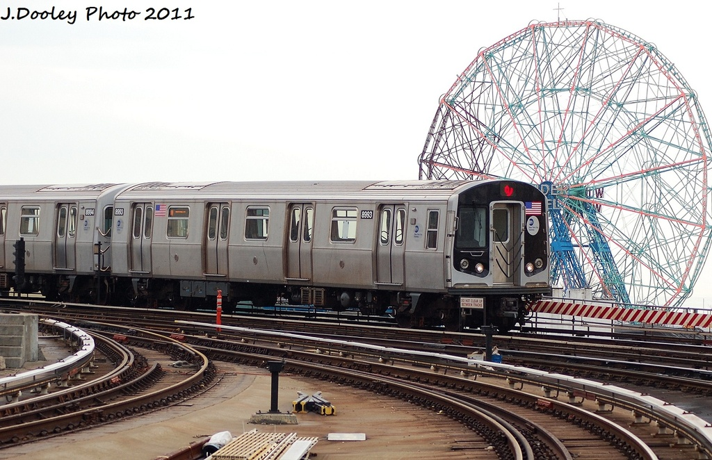 (355k, 1024x662)<br><b>Country:</b> United States<br><b>City:</b> New York<br><b>System:</b> New York City Transit<br><b>Location:</b> Coney Island Yard<br><b>Route:</b> Q<br><b>Car:</b> R-160B (Option 1) (Kawasaki, 2008-2009)  8993 <br><b>Photo by:</b> John Dooley<br><b>Date:</b> 12/31/2011<br><b>Viewed (this week/total):</b> 1 / 373