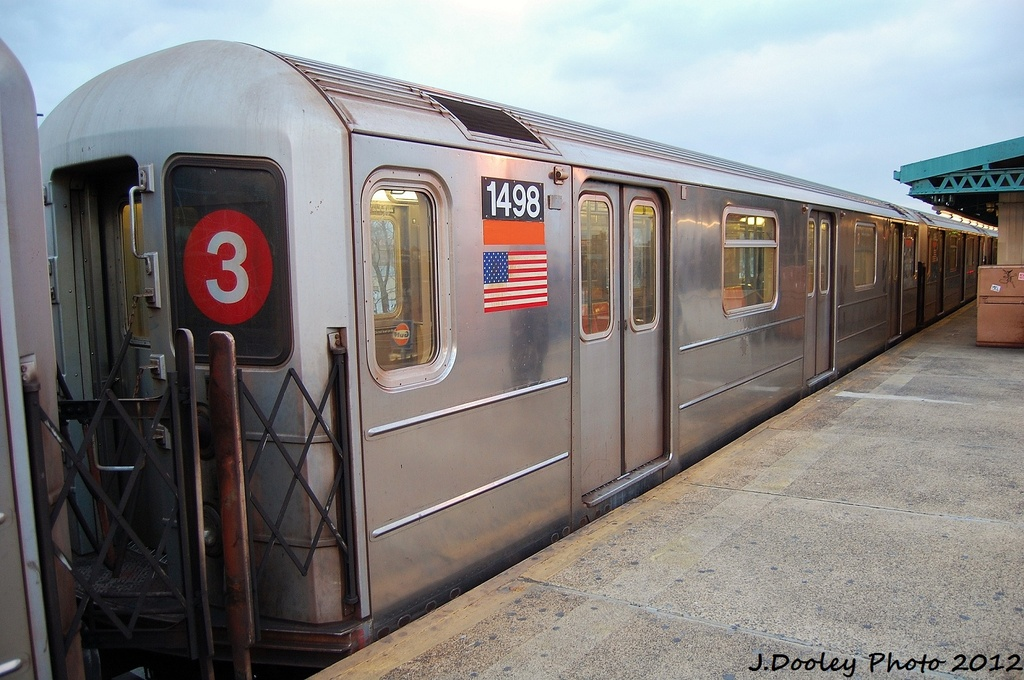 (316k, 1024x680)<br><b>Country:</b> United States<br><b>City:</b> New York<br><b>System:</b> New York City Transit<br><b>Line:</b> IRT Brooklyn Line<br><b>Location:</b> New Lots Avenue <br><b>Route:</b> 3<br><b>Car:</b> R-62 (Kawasaki, 1983-1985)  1498 <br><b>Photo by:</b> John Dooley<br><b>Date:</b> 1/14/2012<br><b>Viewed (this week/total):</b> 1 / 344