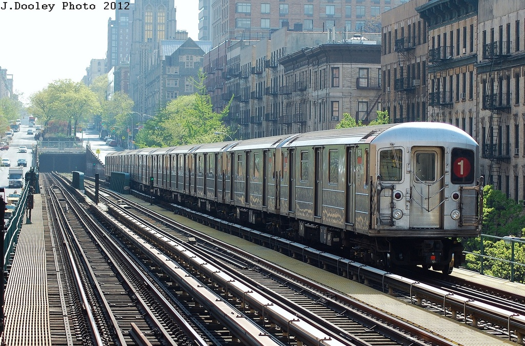 (458k, 1024x674)<br><b>Country:</b> United States<br><b>City:</b> New York<br><b>System:</b> New York City Transit<br><b>Line:</b> IRT West Side Line<br><b>Location:</b> 125th Street <br><b>Route:</b> 1<br><b>Car:</b> R-62A (Bombardier, 1984-1987)  1841 <br><b>Photo by:</b> John Dooley<br><b>Date:</b> 4/16/2012<br><b>Viewed (this week/total):</b> 0 / 297