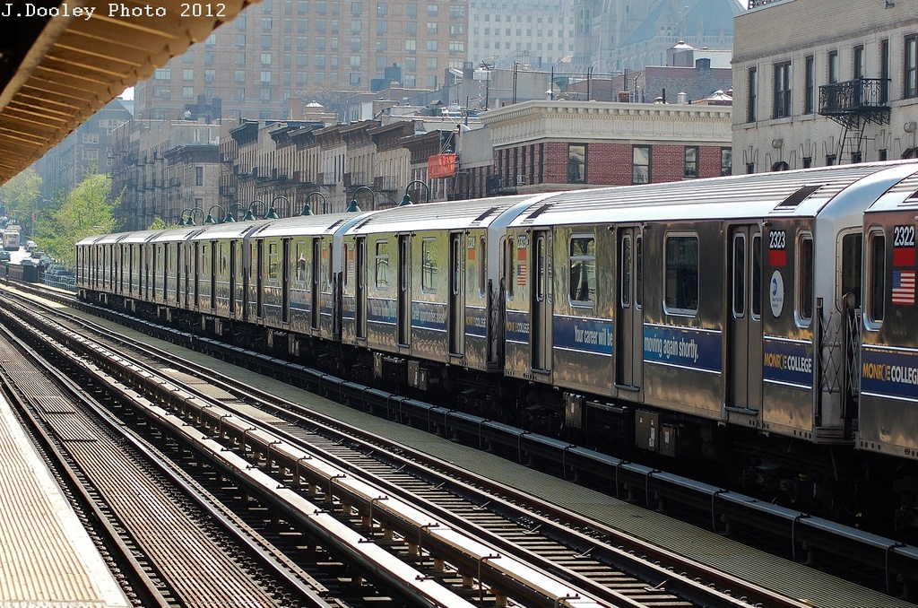 (441k, 1024x678)<br><b>Country:</b> United States<br><b>City:</b> New York<br><b>System:</b> New York City Transit<br><b>Line:</b> IRT West Side Line<br><b>Location:</b> 125th Street <br><b>Route:</b> 1<br><b>Car:</b> R-62A (Bombardier, 1984-1987)  2323 <br><b>Photo by:</b> John Dooley<br><b>Date:</b> 4/16/2012<br><b>Viewed (this week/total):</b> 0 / 619