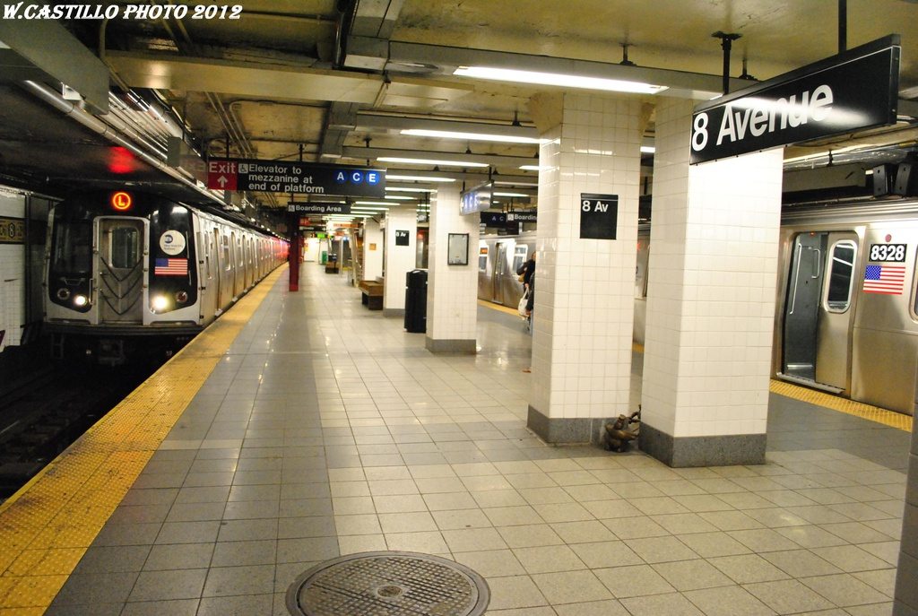 (304k, 1024x687)<br><b>Country:</b> United States<br><b>City:</b> New York<br><b>System:</b> New York City Transit<br><b>Line:</b> BMT Canarsie Line<br><b>Location:</b> 8th Avenue <br><b>Photo by:</b> Wilfredo Castillo<br><b>Date:</b> 4/25/2012<br><b>Viewed (this week/total):</b> 0 / 529
