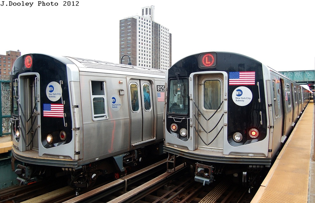 (304k, 1024x660)<br><b>Country:</b> United States<br><b>City:</b> New York<br><b>System:</b> New York City Transit<br><b>Line:</b> BMT Canarsie Line<br><b>Location:</b> Livonia Avenue <br><b>Route:</b> L<br><b>Car:</b> R-143 (Kawasaki, 2001-2002) 8125 <br><b>Photo by:</b> John Dooley<br><b>Date:</b> 3/15/2012<br><b>Viewed (this week/total):</b> 2 / 346