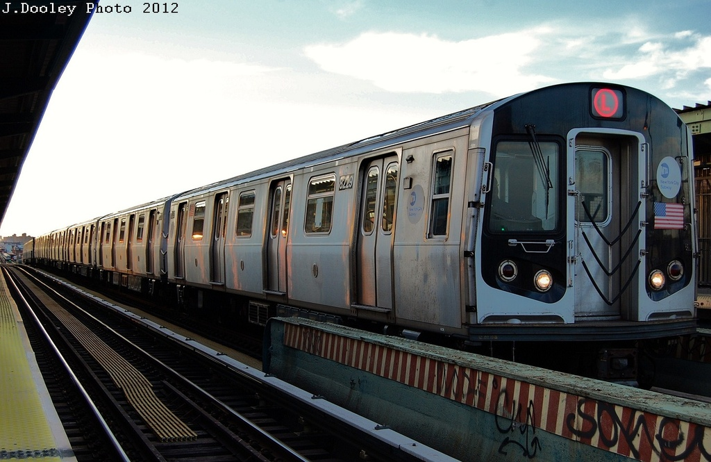 (285k, 1024x665)<br><b>Country:</b> United States<br><b>City:</b> New York<br><b>System:</b> New York City Transit<br><b>Line:</b> BMT Nassau Street/Jamaica Line<br><b>Location:</b> Chauncey Street <br><b>Route:</b> L turnback<br><b>Car:</b> R-143 (Kawasaki, 2001-2002) 8229 <br><b>Photo by:</b> John Dooley<br><b>Date:</b> 3/3/2012<br><b>Viewed (this week/total):</b> 3 / 455