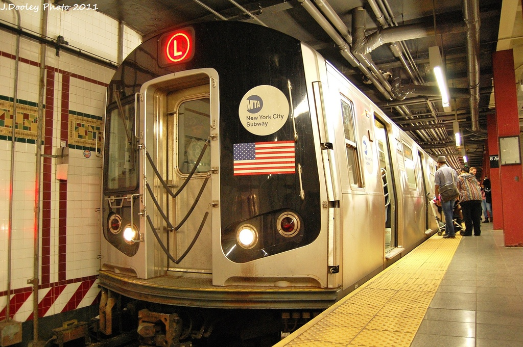 (387k, 1024x681)<br><b>Country:</b> United States<br><b>City:</b> New York<br><b>System:</b> New York City Transit<br><b>Line:</b> BMT Canarsie Line<br><b>Location:</b> 8th Avenue <br><b>Route:</b> L<br><b>Car:</b> R-143 (Kawasaki, 2001-2002) 8240 <br><b>Photo by:</b> John Dooley<br><b>Date:</b> 11/14/2011<br><b>Viewed (this week/total):</b> 0 / 228