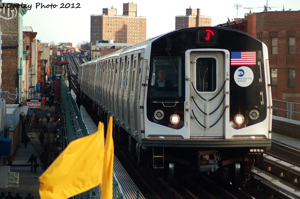 (316k, 1024x680)<br><b>Country:</b> United States<br><b>City:</b> New York<br><b>System:</b> New York City Transit<br><b>Line:</b> BMT Nassau Street/Jamaica Line<br><b>Location:</b> Gates Avenue <br><b>Route:</b> J<br><b>Car:</b> R-160A-1 (Alstom, 2005-2008, 4 car sets)  8343 <br><b>Photo by:</b> John Dooley<br><b>Date:</b> 1/28/2012<br><b>Viewed (this week/total):</b> 3 / 242