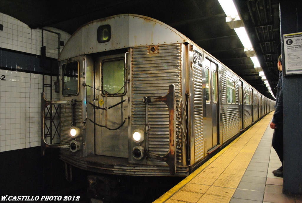 (304k, 1024x687)<br><b>Country:</b> United States<br><b>City:</b> New York<br><b>System:</b> New York City Transit<br><b>Line:</b> IND 8th Avenue Line<br><b>Location:</b> 42nd Street/Port Authority Bus Terminal <br><b>Route:</b> C<br><b>Car:</b> R-32 (Budd, 1964)  3840 <br><b>Photo by:</b> Wilfredo Castillo<br><b>Date:</b> 4/25/2012<br><b>Viewed (this week/total):</b> 3 / 612