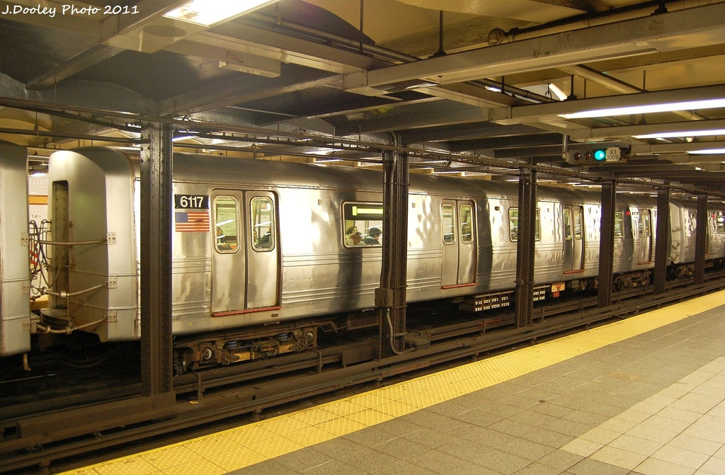 (355k, 1024x671)<br><b>Country:</b> United States<br><b>City:</b> New York<br><b>System:</b> New York City Transit<br><b>Line:</b> IND 8th Avenue Line<br><b>Location:</b> 14th Street <br><b>Route:</b> A<br><b>Car:</b> R-46 (Pullman-Standard, 1974-75) 6117 <br><b>Photo by:</b> John Dooley<br><b>Date:</b> 11/14/2011<br><b>Viewed (this week/total):</b> 2 / 662