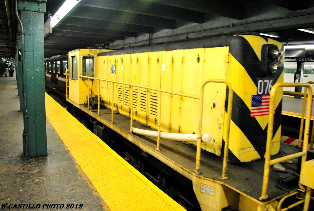 (279k, 1024x687)<br><b>Country:</b> United States<br><b>City:</b> New York<br><b>System:</b> New York City Transit<br><b>Line:</b> IND 6th Avenue Line<br><b>Location:</b> West 4th Street/Washington Square <br><b>Route:</b> Work Service<br><b>Car:</b> R-52 Locomotive  76 <br><b>Photo by:</b> Wilfredo Castillo<br><b>Date:</b> 4/25/2012<br><b>Viewed (this week/total):</b> 4 / 618