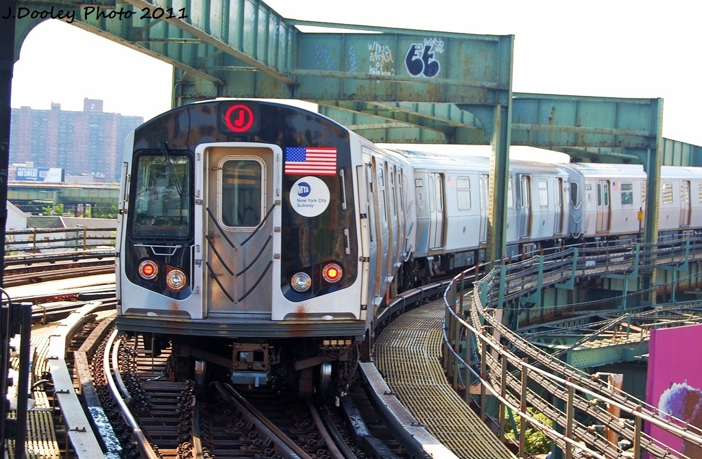 (360k, 1024x670)<br><b>Country:</b> United States<br><b>City:</b> New York<br><b>System:</b> New York City Transit<br><b>Line:</b> BMT Nassau Street/Jamaica Line<br><b>Location:</b> Alabama Avenue <br><b>Route:</b> J<br><b>Car:</b> R-160A-1 (Alstom, 2005-2008, 4 car sets)  8345 <br><b>Photo by:</b> John Dooley<br><b>Date:</b> 8/17/2011<br><b>Viewed (this week/total):</b> 1 / 823