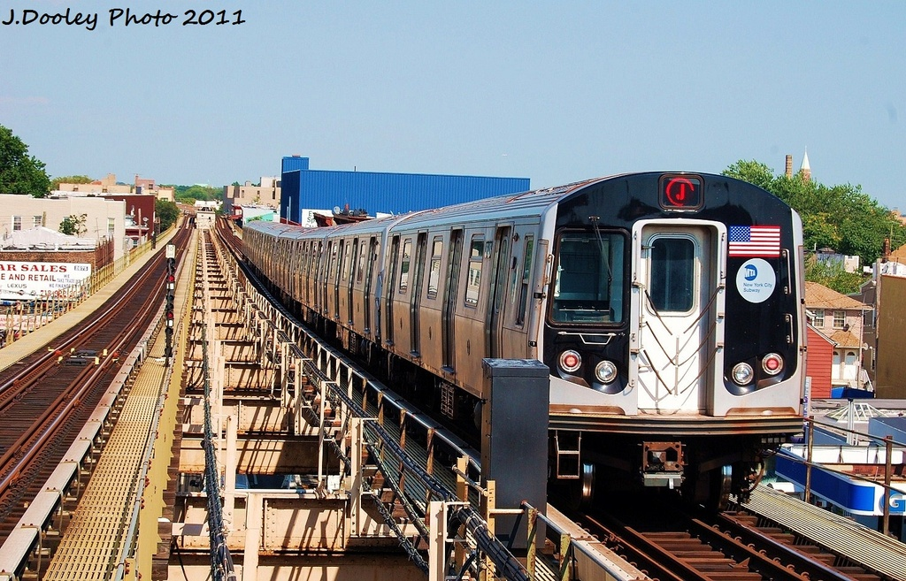 (390k, 1024x657)<br><b>Country:</b> United States<br><b>City:</b> New York<br><b>System:</b> New York City Transit<br><b>Line:</b> BMT Nassau Street/Jamaica Line<br><b>Location:</b> Alabama Avenue <br><b>Route:</b> J<br><b>Car:</b> R-160A-1 (Alstom, 2005-2008, 4 car sets)  8648 <br><b>Photo by:</b> John Dooley<br><b>Date:</b> 8/17/2011<br><b>Viewed (this week/total):</b> 3 / 289
