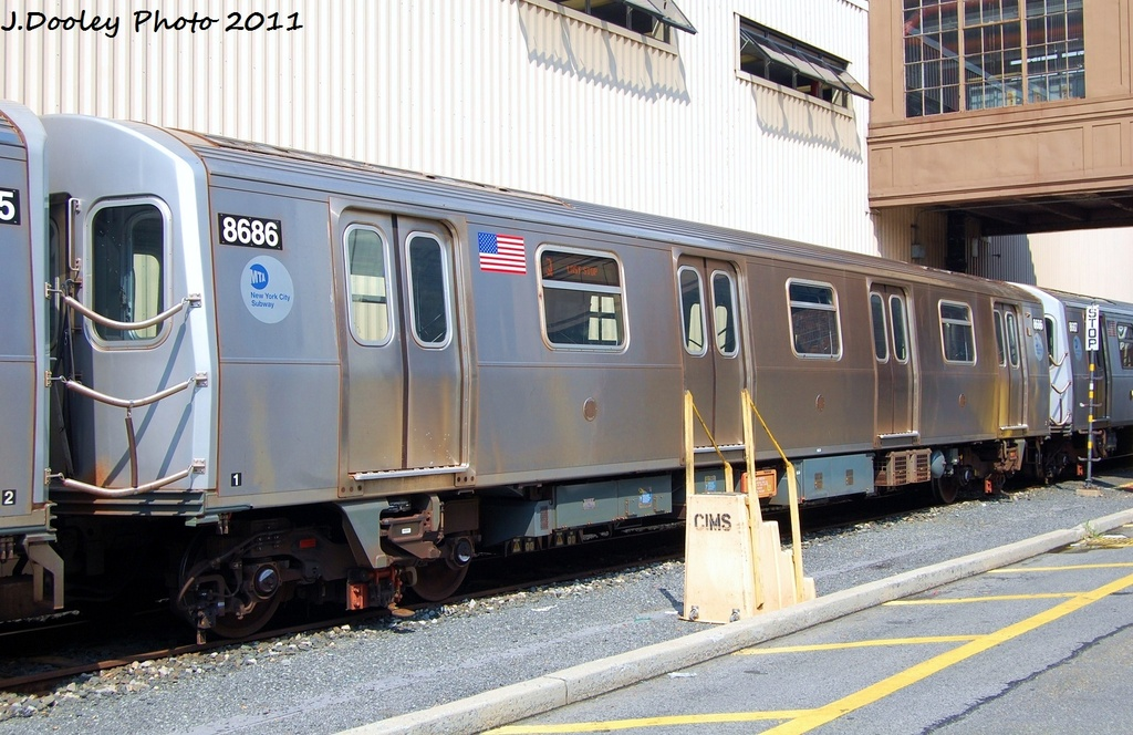 (330k, 1024x664)<br><b>Country:</b> United States<br><b>City:</b> New York<br><b>System:</b> New York City Transit<br><b>Location:</b> Coney Island Yard<br><b>Car:</b> R-160A-2 (Alstom, 2005-2008, 5 car sets)  8686 <br><b>Photo by:</b> John Dooley<br><b>Date:</b> 8/26/2011<br><b>Viewed (this week/total):</b> 3 / 452