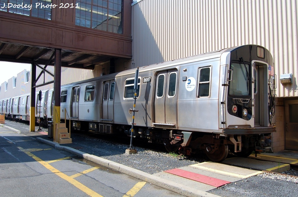(347k, 1024x677)<br><b>Country:</b> United States<br><b>City:</b> New York<br><b>System:</b> New York City Transit<br><b>Location:</b> Coney Island Yard<br><b>Car:</b> R-160A-2 (Alstom, 2005-2008, 5 car sets)  8687 <br><b>Photo by:</b> John Dooley<br><b>Date:</b> 8/26/2011<br><b>Viewed (this week/total):</b> 0 / 530