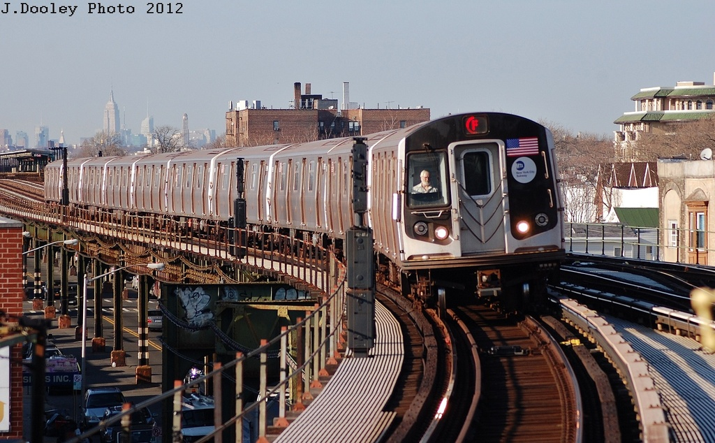 (339k, 1024x634)<br><b>Country:</b> United States<br><b>City:</b> New York<br><b>System:</b> New York City Transit<br><b>Line:</b> BMT Culver Line<br><b>Location:</b> Kings Highway <br><b>Route:</b> F<br><b>Car:</b> R-160A (Option 2) (Alstom, 2009, 5-car sets)  9657 <br><b>Photo by:</b> John Dooley<br><b>Date:</b> 3/19/2012<br><b>Viewed (this week/total):</b> 2 / 224