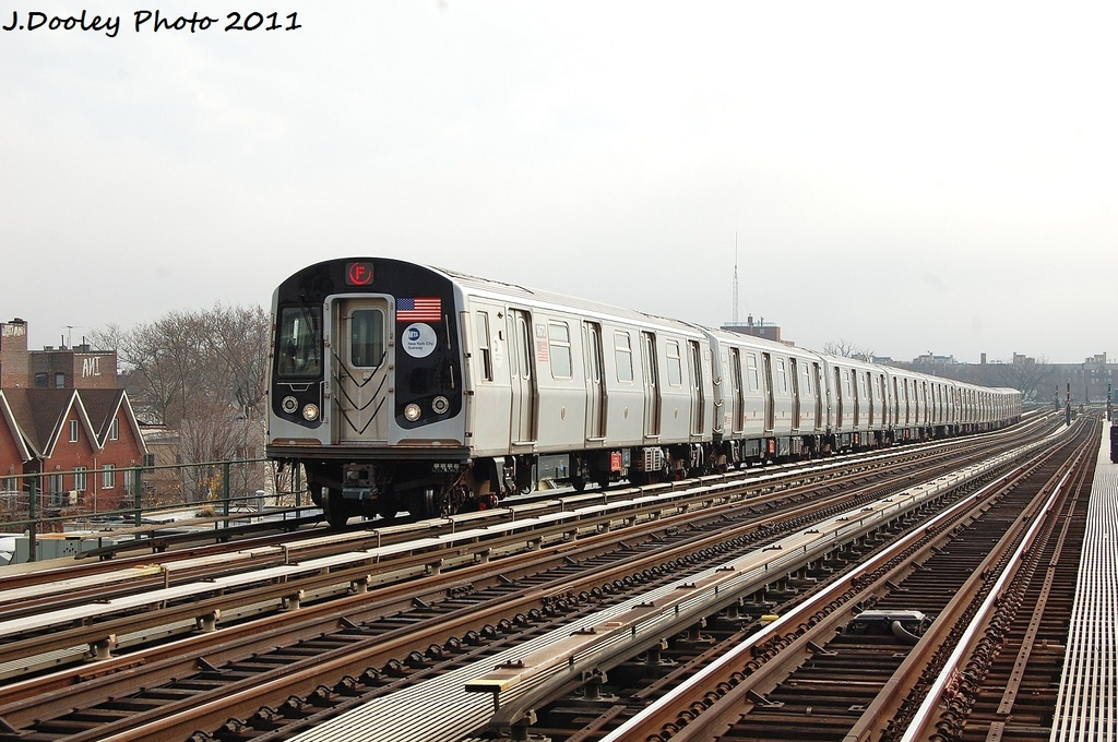 (335k, 1024x680)<br><b>Country:</b> United States<br><b>City:</b> New York<br><b>System:</b> New York City Transit<br><b>Line:</b> BMT Culver Line<br><b>Location:</b> Avenue P <br><b>Route:</b> F<br><b>Car:</b> R-160A (Option 2) (Alstom, 2009, 5-car sets)  9673 <br><b>Photo by:</b> John Dooley<br><b>Date:</b> 12/5/2011<br><b>Viewed (this week/total):</b> 3 / 301