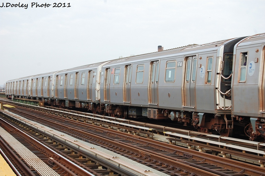 (327k, 1024x680)<br><b>Country:</b> United States<br><b>City:</b> New York<br><b>System:</b> New York City Transit<br><b>Line:</b> BMT Culver Line<br><b>Location:</b> Avenue P <br><b>Route:</b> F<br><b>Car:</b> R-160A (Option 2) (Alstom, 2009, 5-car sets)  9748 <br><b>Photo by:</b> John Dooley<br><b>Date:</b> 12/5/2011<br><b>Viewed (this week/total):</b> 5 / 535