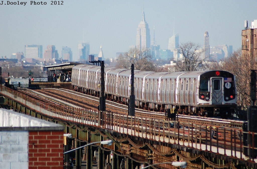 (349k, 1024x672)<br><b>Country:</b> United States<br><b>City:</b> New York<br><b>System:</b> New York City Transit<br><b>Line:</b> BMT Culver Line<br><b>Location:</b> Kings Highway <br><b>Route:</b> F<br><b>Car:</b> R-160A (Option 2) (Alstom, 2009, 5-car sets)  9777 <br><b>Photo by:</b> John Dooley<br><b>Date:</b> 3/19/2012<br><b>Viewed (this week/total):</b> 0 / 305