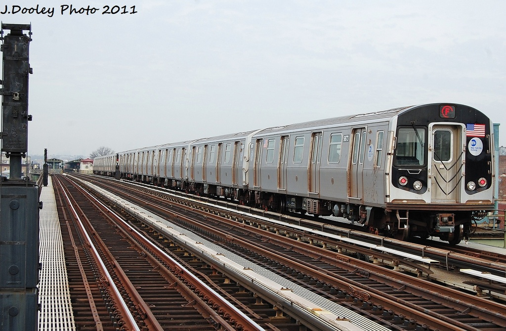 (347k, 1024x670)<br><b>Country:</b> United States<br><b>City:</b> New York<br><b>System:</b> New York City Transit<br><b>Line:</b> BMT Culver Line<br><b>Location:</b> Avenue I <br><b>Route:</b> F<br><b>Car:</b> R-160B (Option 2) (Kawasaki, 2009)  9873 <br><b>Photo by:</b> John Dooley<br><b>Date:</b> 12/5/2011<br><b>Viewed (this week/total):</b> 2 / 137