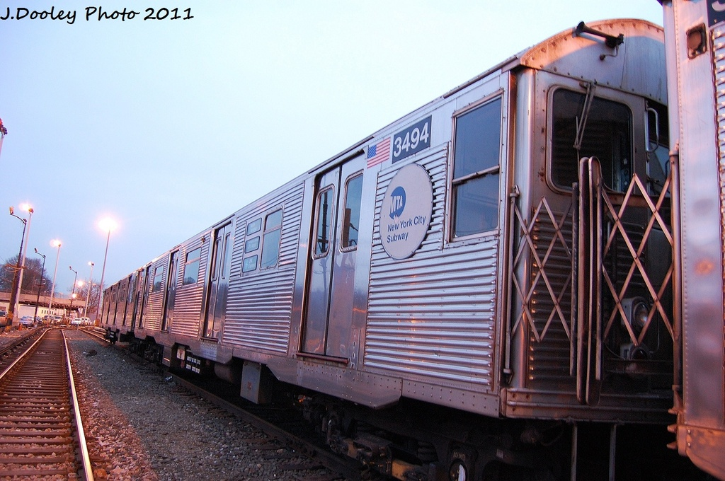 (329k, 1024x680)<br><b>Country:</b> United States<br><b>City:</b> New York<br><b>System:</b> New York City Transit<br><b>Location:</b> 36th Street Yard<br><b>Car:</b> R-32 (Budd, 1964)  3494 <br><b>Photo by:</b> John Dooley<br><b>Date:</b> 12/29/2011<br><b>Viewed (this week/total):</b> 2 / 608