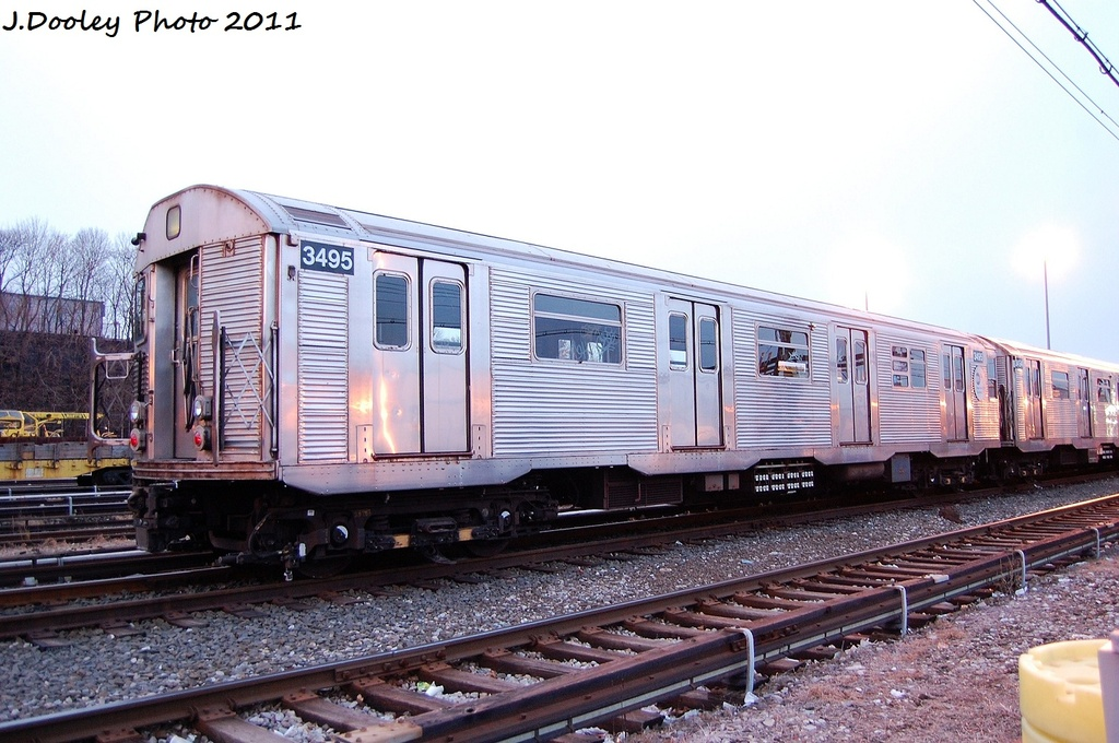 (323k, 1024x680)<br><b>Country:</b> United States<br><b>City:</b> New York<br><b>System:</b> New York City Transit<br><b>Location:</b> 36th Street Yard<br><b>Car:</b> R-32 (Budd, 1964)  3495 <br><b>Photo by:</b> John Dooley<br><b>Date:</b> 12/29/2011<br><b>Viewed (this week/total):</b> 3 / 450
