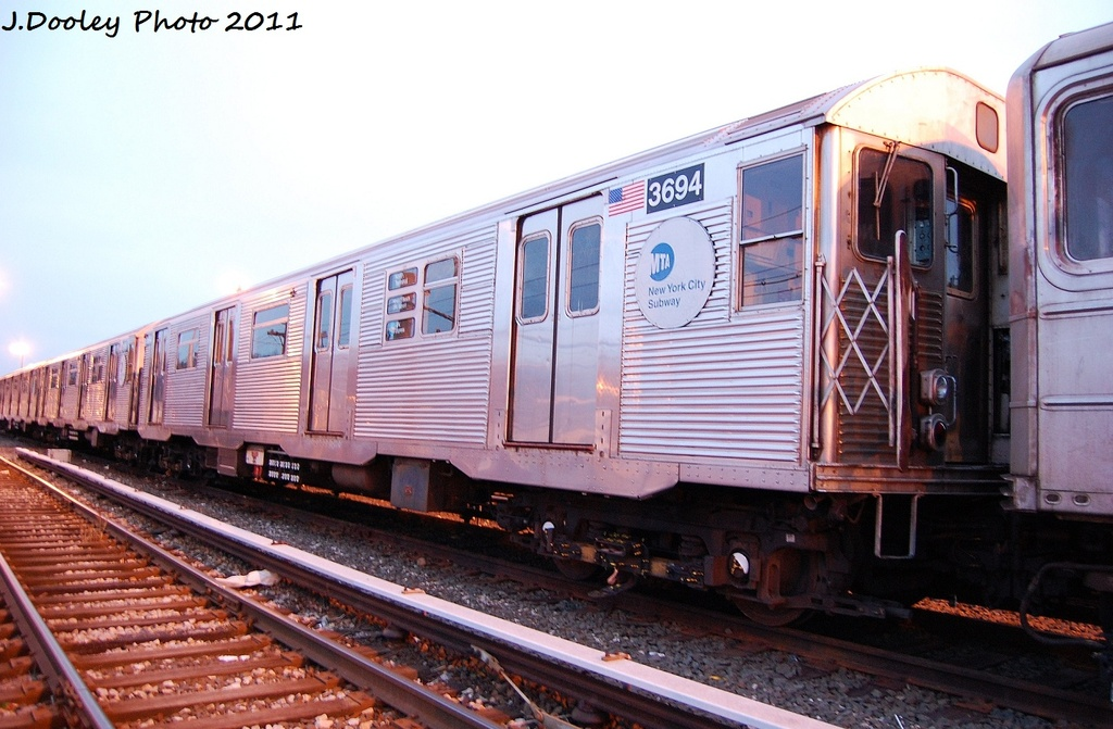(309k, 1024x671)<br><b>Country:</b> United States<br><b>City:</b> New York<br><b>System:</b> New York City Transit<br><b>Location:</b> 36th Street Yard<br><b>Car:</b> R-32 (Budd, 1964)  3694 <br><b>Photo by:</b> John Dooley<br><b>Date:</b> 12/29/2011<br><b>Viewed (this week/total):</b> 0 / 637
