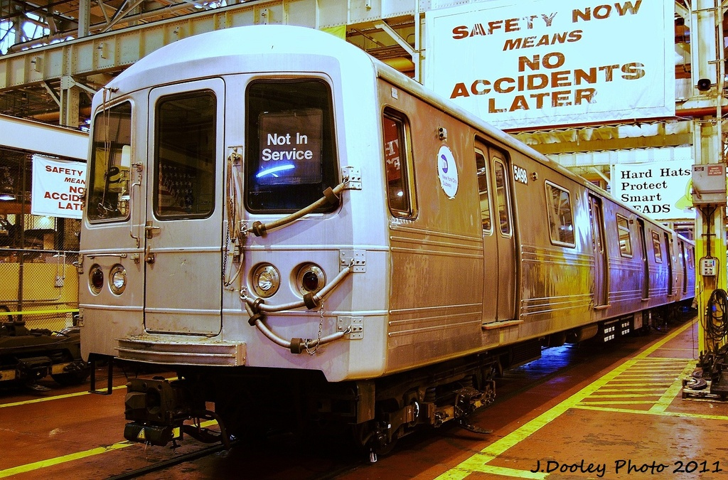 (412k, 1024x675)<br><b>Country:</b> United States<br><b>City:</b> New York<br><b>System:</b> New York City Transit<br><b>Location:</b> Coney Island Shop/Overhaul & Repair Shop<br><b>Car:</b> R-46 (Pullman-Standard, 1974-75) 5498 <br><b>Photo by:</b> John Dooley<br><b>Date:</b> 8/26/2011<br><b>Viewed (this week/total):</b> 2 / 371