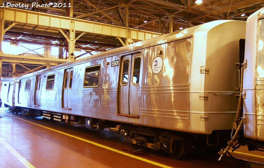 (365k, 1024x653)<br><b>Country:</b> United States<br><b>City:</b> New York<br><b>System:</b> New York City Transit<br><b>Location:</b> Coney Island Shop/Overhaul & Repair Shop<br><b>Car:</b> R-46 (Pullman-Standard, 1974-75) 5501 <br><b>Photo by:</b> John Dooley<br><b>Date:</b> 8/26/2011<br><b>Viewed (this week/total):</b> 2 / 251