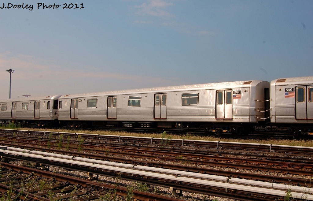 (293k, 1024x657)<br><b>Country:</b> United States<br><b>City:</b> New York<br><b>System:</b> New York City Transit<br><b>Location:</b> Coney Island Yard<br><b>Car:</b> R-46 (Pullman-Standard, 1974-75) 5990 <br><b>Photo by:</b> John Dooley<br><b>Date:</b> 8/26/2011<br><b>Viewed (this week/total):</b> 2 / 197