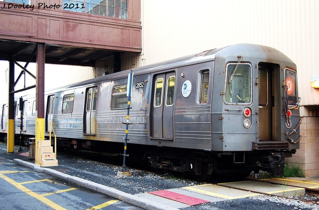 (372k, 1024x674)<br><b>Country:</b> United States<br><b>City:</b> New York<br><b>System:</b> New York City Transit<br><b>Location:</b> Coney Island Yard<br><b>Car:</b> R-68 (Westinghouse-Amrail, 1986-1988)  2852 <br><b>Photo by:</b> John Dooley<br><b>Date:</b> 8/26/2011<br><b>Viewed (this week/total):</b> 4 / 205