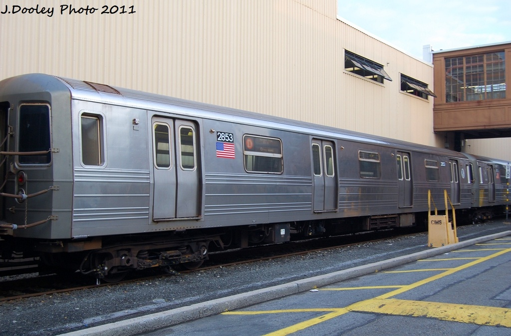 (284k, 1024x673)<br><b>Country:</b> United States<br><b>City:</b> New York<br><b>System:</b> New York City Transit<br><b>Location:</b> Coney Island Yard<br><b>Car:</b> R-68 (Westinghouse-Amrail, 1986-1988)  2853 <br><b>Photo by:</b> John Dooley<br><b>Date:</b> 8/26/2011<br><b>Viewed (this week/total):</b> 0 / 176