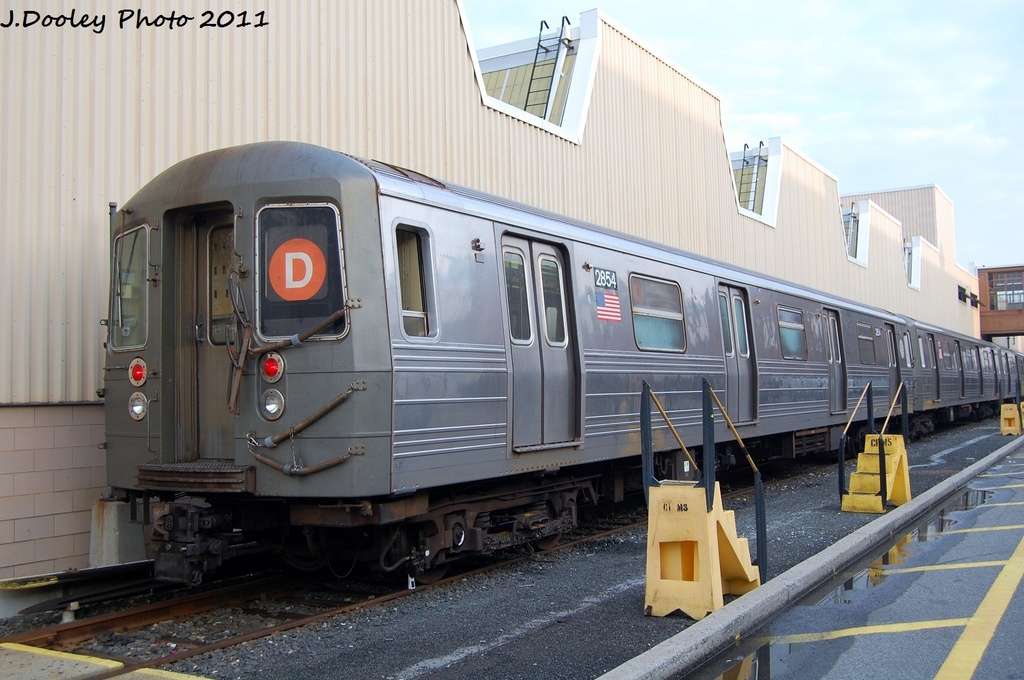 (300k, 1024x680)<br><b>Country:</b> United States<br><b>City:</b> New York<br><b>System:</b> New York City Transit<br><b>Location:</b> Coney Island Yard<br><b>Car:</b> R-68 (Westinghouse-Amrail, 1986-1988)  2854 <br><b>Photo by:</b> John Dooley<br><b>Date:</b> 8/26/2011<br><b>Viewed (this week/total):</b> 1 / 711