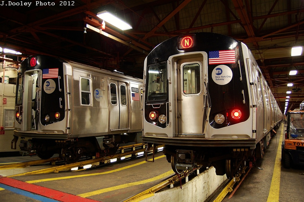 (357k, 1024x680)<br><b>Country:</b> United States<br><b>City:</b> New York<br><b>System:</b> New York City Transit<br><b>Location:</b> Coney Island Shop/Overhaul & Repair Shop<br><b>Car:</b> R-160B (Option 1) (Kawasaki, 2008-2009)  8993 <br><b>Photo by:</b> John Dooley<br><b>Date:</b> 2/27/2012<br><b>Viewed (this week/total):</b> 4 / 490