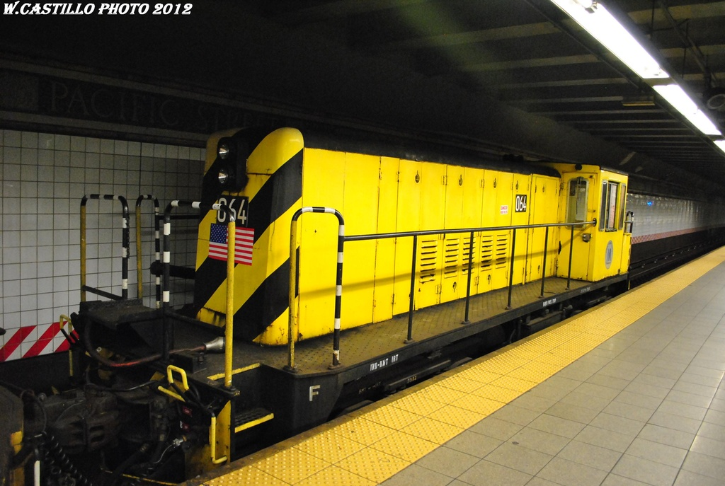 (281k, 1024x687)<br><b>Country:</b> United States<br><b>City:</b> New York<br><b>System:</b> New York City Transit<br><b>Line:</b> BMT 4th Avenue<br><b>Location:</b> Pacific Street <br><b>Route:</b> Work Service<br><b>Car:</b> R-47 Locomotive  64 <br><b>Photo by:</b> Wilfredo Castillo<br><b>Date:</b> 4/28/2012<br><b>Viewed (this week/total):</b> 7 / 597