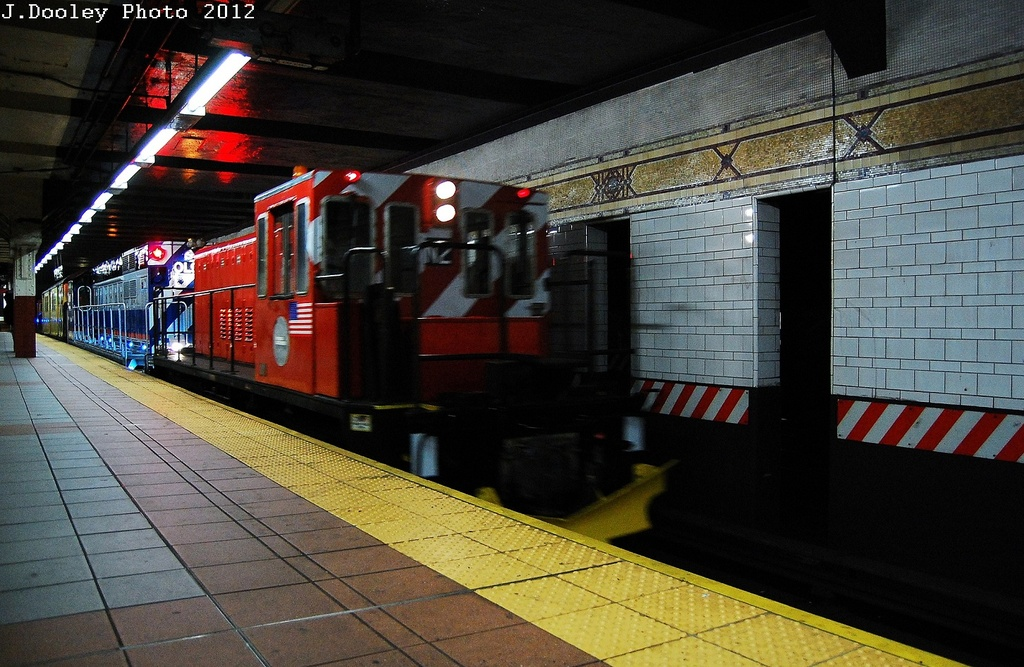 (351k, 1024x667)<br><b>Country:</b> United States<br><b>City:</b> New York<br><b>System:</b> New York City Transit<br><b>Location:</b> DeKalb Avenue<br><b>Car:</b> R-47 (SBK) Locomotive  N1 <br><b>Photo by:</b> John Dooley<br><b>Date:</b> 5/2/2012<br><b>Notes:</b> New R-156 loco move - Linden Yd to Coney Island Yd<br><b>Viewed (this week/total):</b> 1 / 524