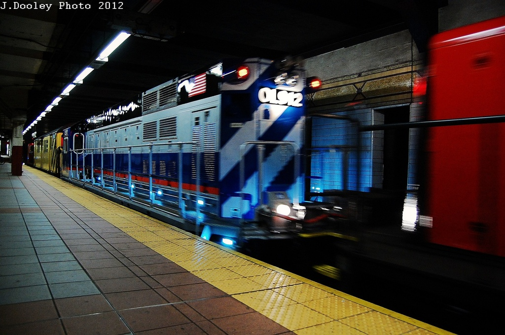 (326k, 1024x680)<br><b>Country:</b> United States<br><b>City:</b> New York<br><b>System:</b> New York City Transit<br><b>Location:</b> DeKalb Avenue<br><b>Car:</b> R-156 Diesel-Electric Locomotive (MPI, 2012-2013) 912 <br><b>Photo by:</b> John Dooley<br><b>Date:</b> 5/2/2012<br><b>Notes:</b> New R-156 loco move - Linden Yd to Coney Island Yd<br><b>Viewed (this week/total):</b> 3 / 963