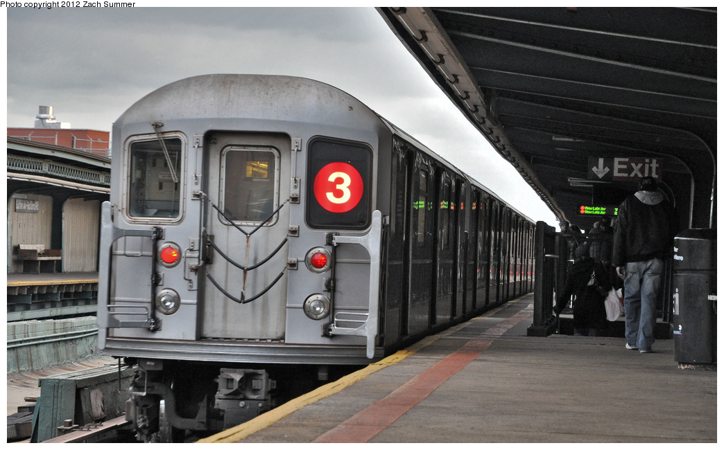 (302k, 1044x650)<br><b>Country:</b> United States<br><b>City:</b> New York<br><b>System:</b> New York City Transit<br><b>Line:</b> IRT Brooklyn Line<br><b>Location:</b> Sutter Avenue/Rutland Road <br><b>Route:</b> 3<br><b>Car:</b> R-62 (Kawasaki, 1983-1985)  1611 <br><b>Photo by:</b> Zach Summer<br><b>Date:</b> 1/14/2012<br><b>Viewed (this week/total):</b> 2 / 296