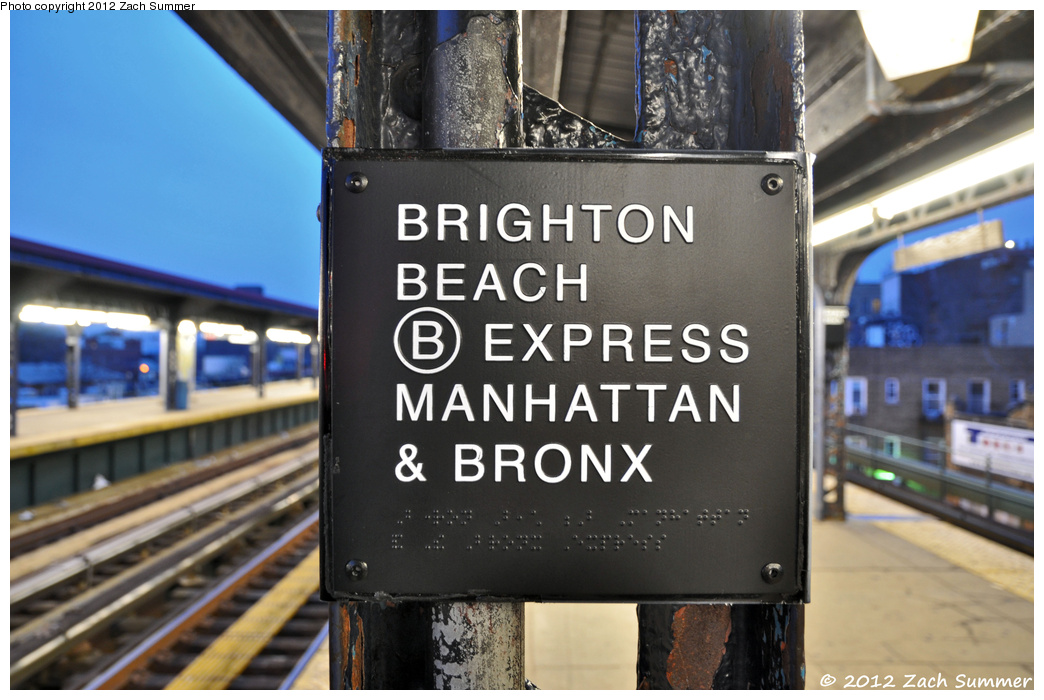 (318k, 1044x700)<br><b>Country:</b> United States<br><b>City:</b> New York<br><b>System:</b> New York City Transit<br><b>Line:</b> BMT Brighton Line<br><b>Location:</b> Brighton Beach <br><b>Photo by:</b> Zach Summer<br><b>Date:</b> 2/4/2012<br><b>Notes:</b> B Train Braille Plaque<br><b>Viewed (this week/total):</b> 0 / 477