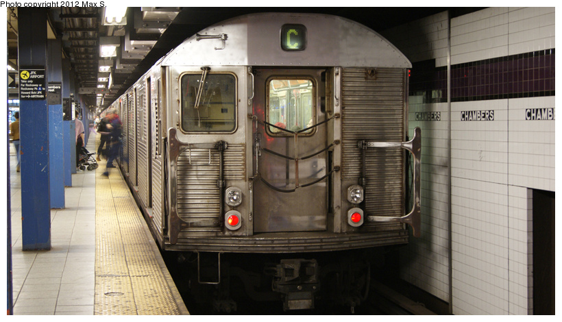 (198k, 820x470)<br><b>Country:</b> United States<br><b>City:</b> New York<br><b>System:</b> New York City Transit<br><b>Line:</b> IND 8th Avenue Line<br><b>Location:</b> Chambers Street/World Trade Center <br><b>Route:</b> C<br><b>Car:</b> R-32 (Budd, 1964)   <br><b>Photo by:</b> Max S.<br><b>Date:</b> 5/5/2012<br><b>Viewed (this week/total):</b> 7 / 578