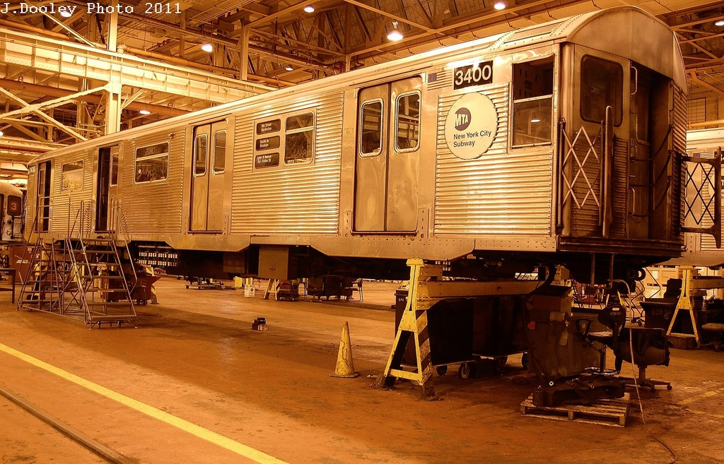 (414k, 1024x657)<br><b>Country:</b> United States<br><b>City:</b> New York<br><b>System:</b> New York City Transit<br><b>Location:</b> Coney Island Shop/Overhaul & Repair Shop<br><b>Car:</b> R-32 (Budd, 1964)  3400 <br><b>Photo by:</b> John Dooley<br><b>Date:</b> 12/17/2011<br><b>Viewed (this week/total):</b> 5 / 245