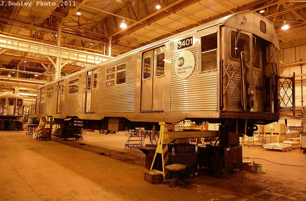 (415k, 1024x671)<br><b>Country:</b> United States<br><b>City:</b> New York<br><b>System:</b> New York City Transit<br><b>Location:</b> Coney Island Shop/Overhaul & Repair Shop<br><b>Car:</b> R-32 (Budd, 1964)  3401 <br><b>Photo by:</b> John Dooley<br><b>Date:</b> 12/17/2011<br><b>Viewed (this week/total):</b> 0 / 156