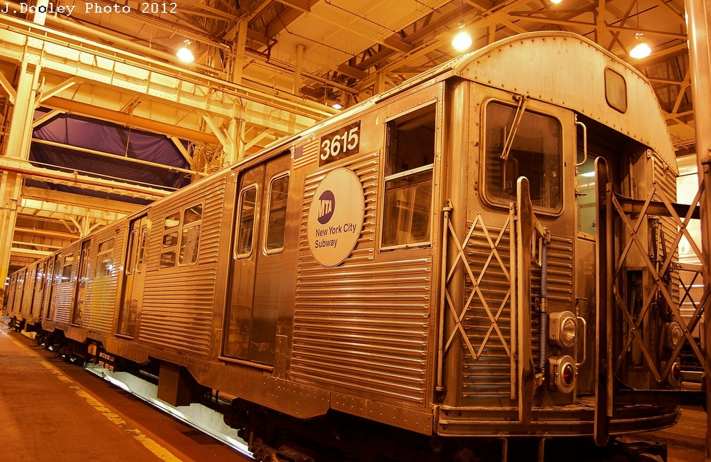 (403k, 1024x666)<br><b>Country:</b> United States<br><b>City:</b> New York<br><b>System:</b> New York City Transit<br><b>Location:</b> Coney Island Shop/Overhaul & Repair Shop<br><b>Car:</b> R-32 (Budd, 1964)  3615 <br><b>Photo by:</b> John Dooley<br><b>Date:</b> 2/21/2012<br><b>Viewed (this week/total):</b> 0 / 175