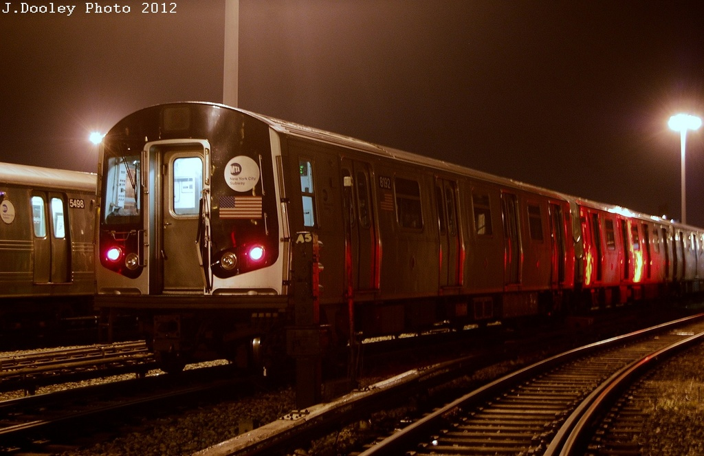 (269k, 1024x663)<br><b>Country:</b> United States<br><b>City:</b> New York<br><b>System:</b> New York City Transit<br><b>Location:</b> Coney Island Yard<br><b>Car:</b> R-143 (Kawasaki, 2001-2002) 8192 <br><b>Photo by:</b> John Dooley<br><b>Date:</b> 2/23/2012<br><b>Viewed (this week/total):</b> 1 / 387