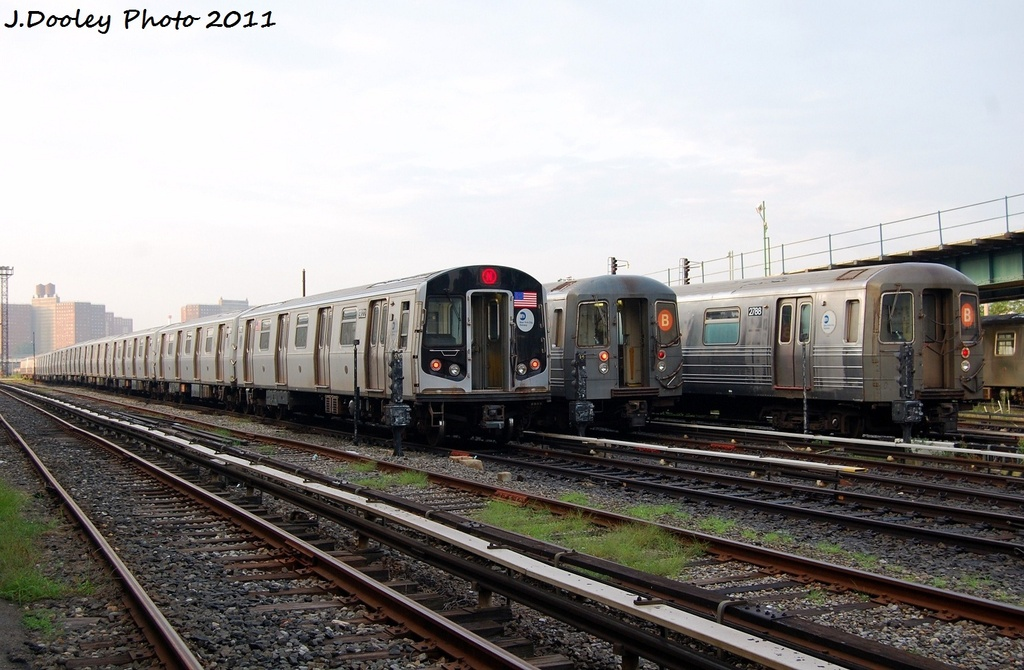 (305k, 1024x670)<br><b>Country:</b> United States<br><b>City:</b> New York<br><b>System:</b> New York City Transit<br><b>Location:</b> Coney Island Yard<br><b>Car:</b> R-160B (Option 1) (Kawasaki, 2008-2009)  9022 <br><b>Photo by:</b> John Dooley<br><b>Date:</b> 8/26/2011<br><b>Viewed (this week/total):</b> 2 / 325