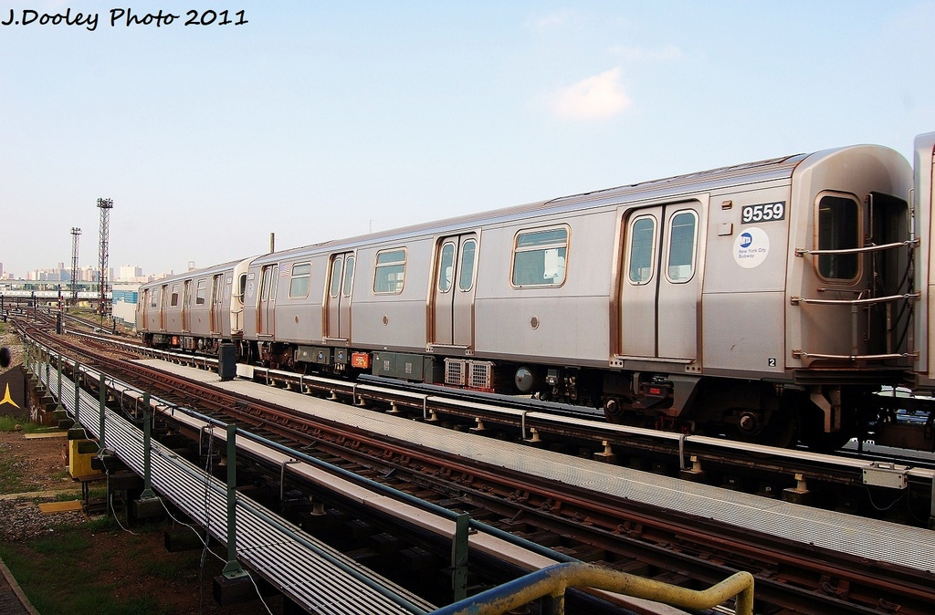(325k, 1024x674)<br><b>Country:</b> United States<br><b>City:</b> New York<br><b>System:</b> New York City Transit<br><b>Location:</b> Coney Island Yard<br><b>Car:</b> R-160A (Option 1) (Alstom, 2008-2009, 5 car sets)  9559 <br><b>Photo by:</b> John Dooley<br><b>Date:</b> 8/26/2011<br><b>Viewed (this week/total):</b> 0 / 107
