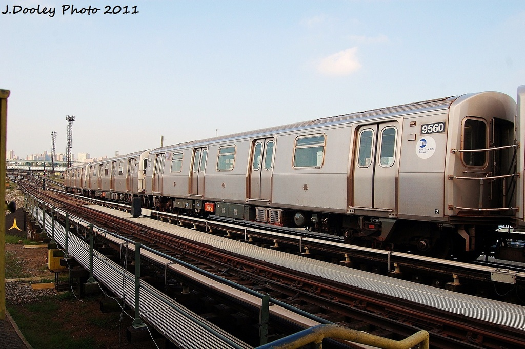 (324k, 1024x681)<br><b>Country:</b> United States<br><b>City:</b> New York<br><b>System:</b> New York City Transit<br><b>Location:</b> Coney Island Yard<br><b>Car:</b> R-160A (Option 1) (Alstom, 2008-2009, 5 car sets)  9560 <br><b>Photo by:</b> John Dooley<br><b>Date:</b> 8/26/2011<br><b>Viewed (this week/total):</b> 0 / 140