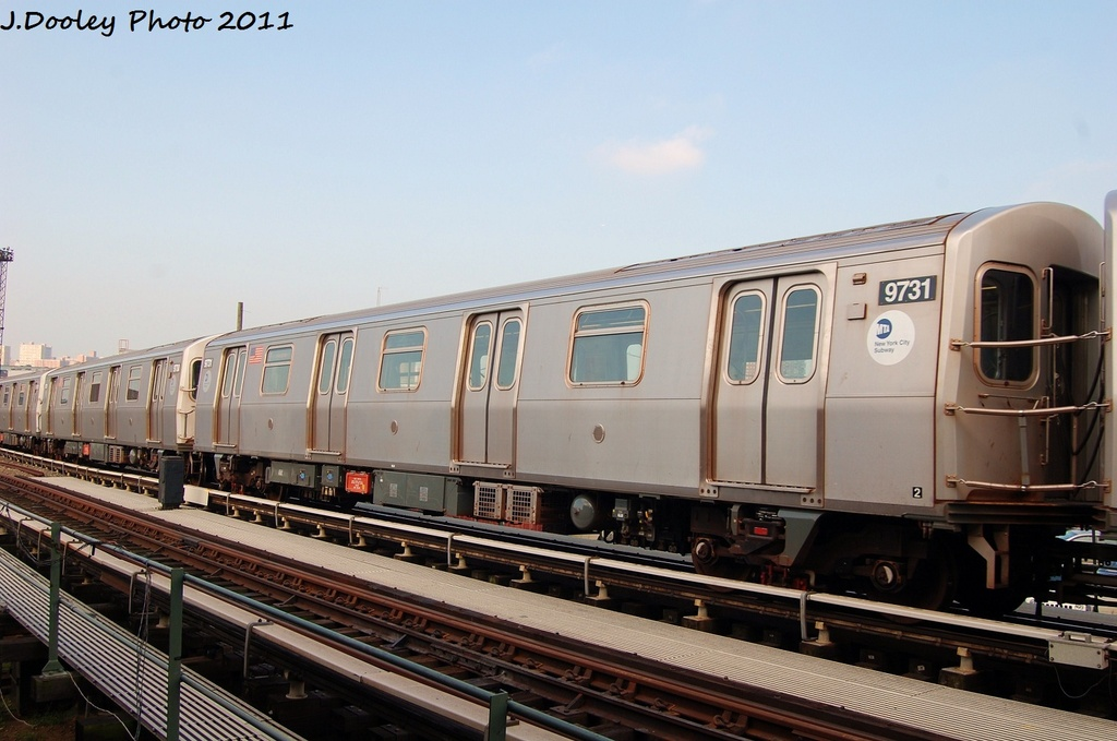 (275k, 1024x679)<br><b>Country:</b> United States<br><b>City:</b> New York<br><b>System:</b> New York City Transit<br><b>Location:</b> Coney Island Yard<br><b>Car:</b> R-160A (Option 2) (Alstom, 2009, 5-car sets)  9731 <br><b>Photo by:</b> John Dooley<br><b>Date:</b> 8/26/2011<br><b>Viewed (this week/total):</b> 0 / 192
