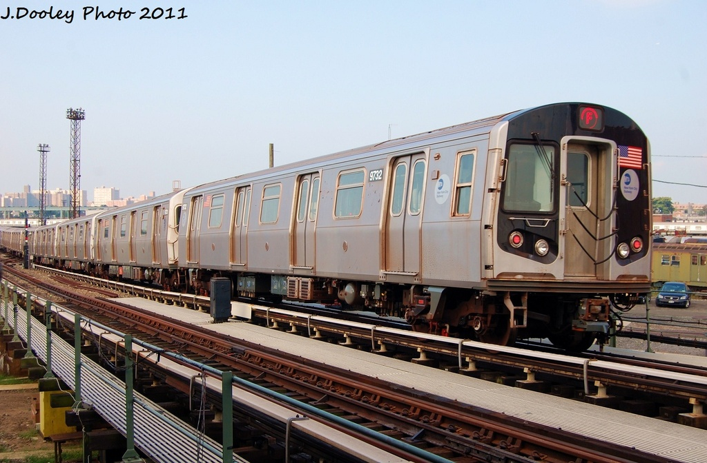 (312k, 1024x672)<br><b>Country:</b> United States<br><b>City:</b> New York<br><b>System:</b> New York City Transit<br><b>Location:</b> Coney Island Yard<br><b>Car:</b> R-160A (Option 2) (Alstom, 2009, 5-car sets)  9732 <br><b>Photo by:</b> John Dooley<br><b>Date:</b> 8/26/2011<br><b>Viewed (this week/total):</b> 3 / 159