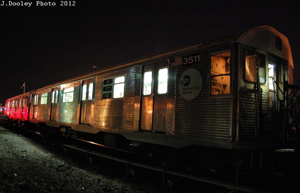 (309k, 1024x660)<br><b>Country:</b> United States<br><b>City:</b> New York<br><b>System:</b> New York City Transit<br><b>Location:</b> Coney Island Yard<br><b>Car:</b> R-32 (Budd, 1964)  3511 <br><b>Photo by:</b> John Dooley<br><b>Date:</b> 2/21/2012<br><b>Viewed (this week/total):</b> 1 / 327