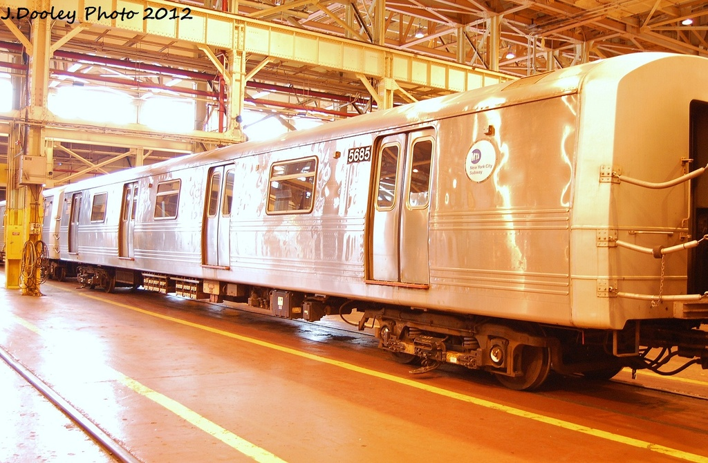 (350k, 1024x670)<br><b>Country:</b> United States<br><b>City:</b> New York<br><b>System:</b> New York City Transit<br><b>Location:</b> Coney Island Shop/Overhaul & Repair Shop<br><b>Car:</b> R-46 (Pullman-Standard, 1974-75) 5685 <br><b>Photo by:</b> John Dooley<br><b>Date:</b> 1/7/2012<br><b>Viewed (this week/total):</b> 1 / 522